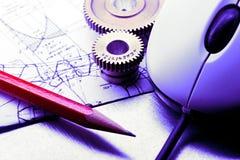 Механически храповики, чертить и мышь стоковая фотография rf