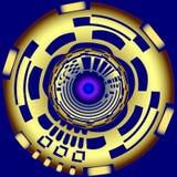 Механически buttonon золота синяя предпосылка Стоковое Изображение RF