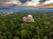 Мехико - взгляд замка Chapultepec панорамный - заход солнца Стоковая Фотография RF