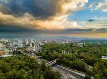 Мехико - воздушный панорамный взгляд - заход солнца Стоковые Изображения
