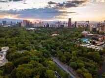Мехико - воздушный панорамный взгляд - заход солнца Стоковые Изображения RF