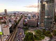 Мехико - воздушный панорамный взгляд - заход солнца Стоковая Фотография