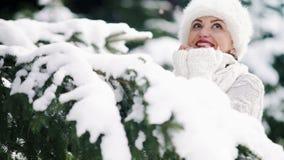 Меховая шапка одела усмехаясь привлекательную женщину наслаждаясь погодой заморозка за елевой ветвью в лесе сток-видео