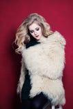 Меховая шыба моды милой женщины нося Стоковые Изображения