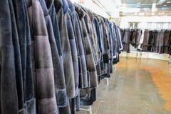 Меховые шыбы на вешалках Магазин меха меховые шыбы в ряд стоковая фотография