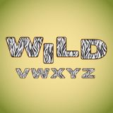 Мех зебры имитировать алфавита Стоковое Фото
