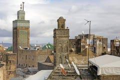 2 мечети в городе Fes, Марокко Стоковые Фото
