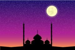 Мечеть в ноче луны Стоковое Фото