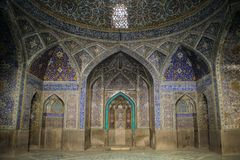 Мечеть в сини Isfahan Традиционные орнаменты и украшения Иран стоковое фото