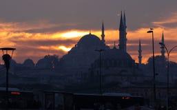 Мечеть в Стамбуле на заходе солнца Стоковая Фотография RF