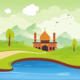 Мечеть и ландшафт шаржа исламская бесплатная иллюстрация