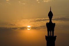 мечеть минарета сумрака Каира Стоковое Фото