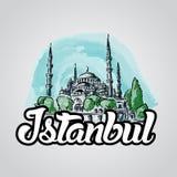 Мечеть сини иллюстрации эскиза вектора Стамбула нарисованная рукой Стоковые Фото