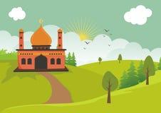 Мечеть шаржа исламская с ландшафтом иллюстрация вектора