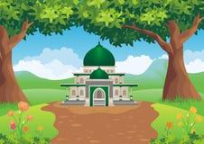 Мечеть шаржа на холме иллюстрация штока