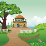 Мечеть шаржа на холме иллюстрация вектора