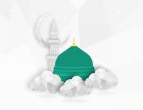 Мечеть Madina Munawwara - Саудовская Аравия Green Dome дизайна концепции плоского дизайна Мухаммеда пророка исламского плоского Стоковое Фото