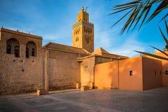 Мечеть Marrakesh Koutoubia в теплом свете солнца Стоковая Фотография