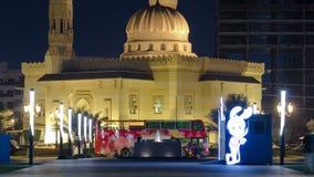 Мечеть Noor Al в Шардже на timelapse ночи видеоматериал