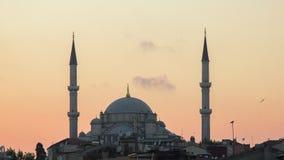 Мечеть ` s завоевателя Fatih Camii в Стамбуле, Турции Сумрак, птицы летает в силуэты Стоковое Изображение
