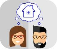 мечтает дом семьи Плоский стиль Модные wi человека бесплатная иллюстрация