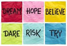 Мечтайте, поверьте, рискните, попробуйте Стоковые Фотографии RF