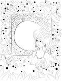 Мечтательные цветки девушки и фантазии иллюстрация вектора
