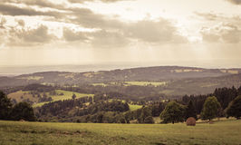 Мечтательная панорама с облачным небом золота Стоковое Фото