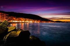 Мечтательный романтичный заход солнца полуострова Стоковые Изображения RF