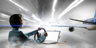 Мечтать, который нужно стать пилотом Мультимедиа Стоковое фото RF