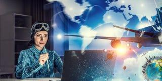 Мечтать, который нужно стать пилотом Мультимедиа Стоковая Фотография