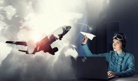 Мечтать, который нужно стать пилотом Мультимедиа Стоковое Изображение