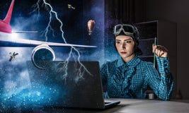 Мечтать, который нужно стать пилотом Мультимедиа Стоковые Изображения