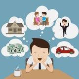 Мечта бизнесмена. бесплатная иллюстрация