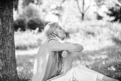 Мечта об успешном проекте Женщина мечтательная с работой ноутбука outdoors Минута для мечты Технология и интернет стоковое фото rf