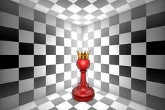 Мечта пешки Одиночество (метафора пешк-шахмат золота) illustr 3d Стоковое Фото