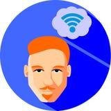 Мечты человека интернет-связи Плоский стиль Модное красно--h иллюстрация штока