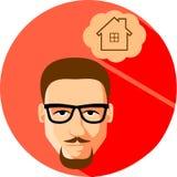 Мечты человека дома Плоский стиль Модный человек в wi стекел иллюстрация вектора
