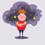 Мечты человека с звездами иллюстрация вектора