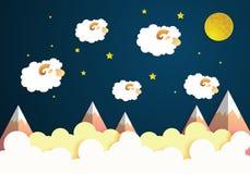 Мечты шаржа сладостные с овцами, луной и звездами на небе Бумажное искусство Стоковые Фото
