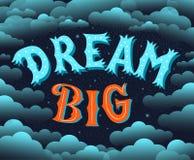 Мечт большой Помечать буквами мотивационный плакат Стоковые Изображения RF