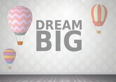 Мечт большой текст и горячие воздушные шары в комнате бесплатная иллюстрация