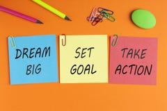 Мечт большой, установил цель, принимает действие Стоковые Изображения RF