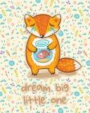 Мечт большое маленькое одно Милая карточка с лисой и рыбами Стоковые Фото