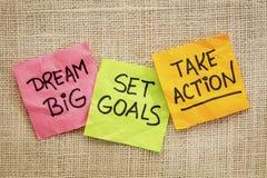 Мечт большой, установил цели, принимает действие стоковое изображение