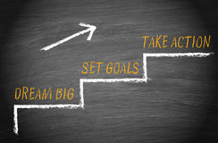 Мечт большой, установил цели, принимает действие иллюстрация штока