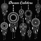 Мечт комплект пера dreamcatcher улавливателя ацтекским племенным сделанный по образцу вектором с украшением Иллюстрация коренного Стоковое Изображение