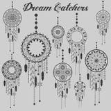 Мечт комплект пера dreamcatcher улавливателя ацтекским племенным сделанный по образцу вектором с украшением Иллюстрация коренного Стоковые Изображения RF