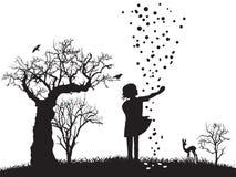 мечт сны овечки иллюстрации девушки сказки Стоковые Изображения RF