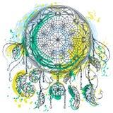 Мечт улавливатель с орнаментом Татуировка ART Картина Красочной винтажной нарисованная рукой иллюстрация вектора в стиле grunge а бесплатная иллюстрация